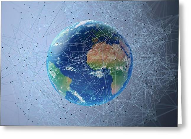 Communication Network Greeting Card by Andrzej Wojcicki