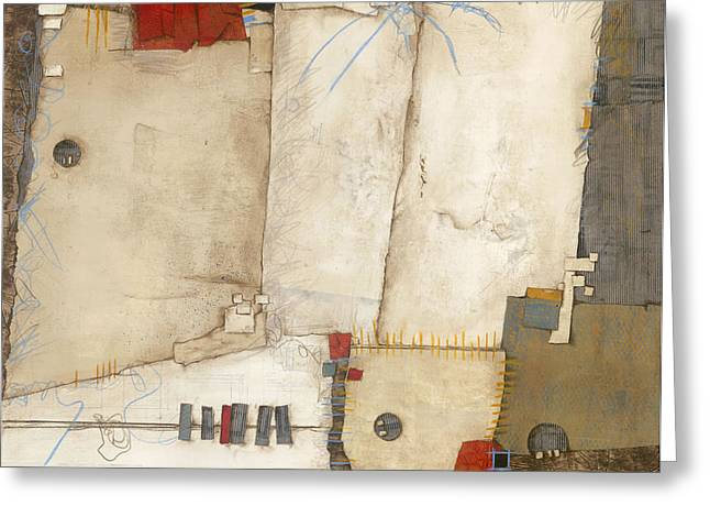 Abstract Shapes Mixed Media Greeting Cards - Communication R we really listening  Greeting Card by Laura  Lein-Svencner