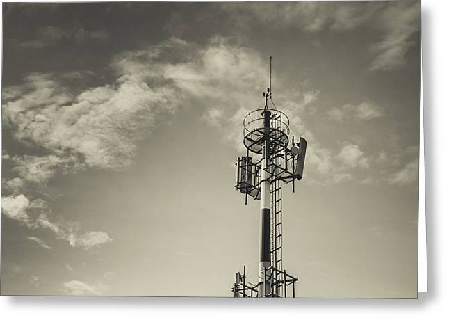 Transmitter Greeting Cards - Communication Tower Greeting Card by Marco Oliveira
