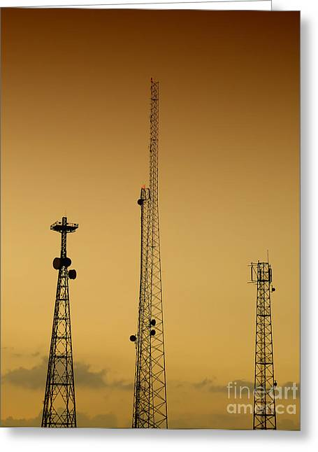 Technical Photographs Greeting Cards - Communications masts 03 Greeting Card by Antony McAulay
