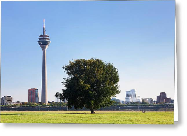 Communications Tower Greeting Cards - Communications Tower, Rheinturm Tower Greeting Card by Panoramic Images