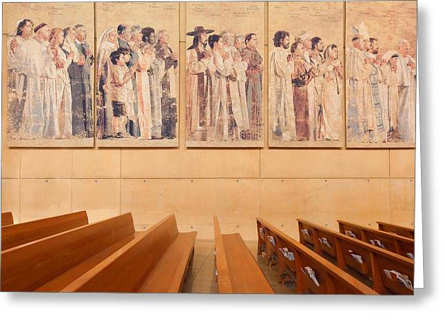 Mother Teresa Greeting Cards - Communion of Saints - Cathedral of Our Lady of the Angels Los Angeles California Greeting Card by Ram Vasudev