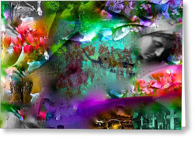 Abstract Digital Mixed Media Greeting Cards - Community Art Project 8 New Orleans Greeting Card by Michael John Bobak