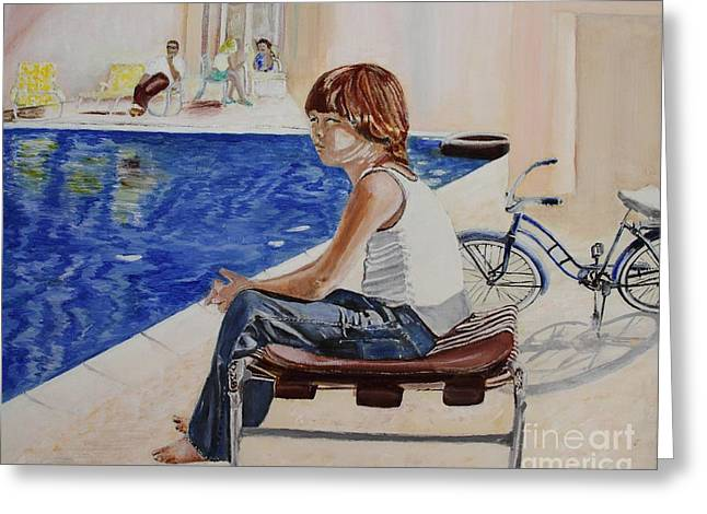 Chaise Paintings Greeting Cards - Community Pool Greeting Card by Debra Chmelina