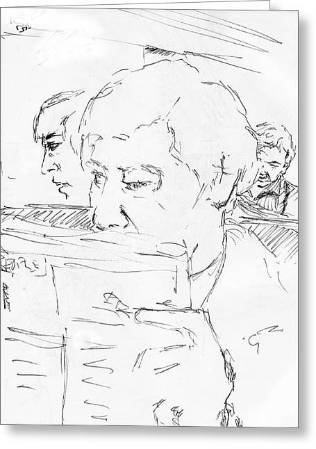 Sketchbook Greeting Cards - Commuter with Newspaper Greeting Card by Phil Welsher