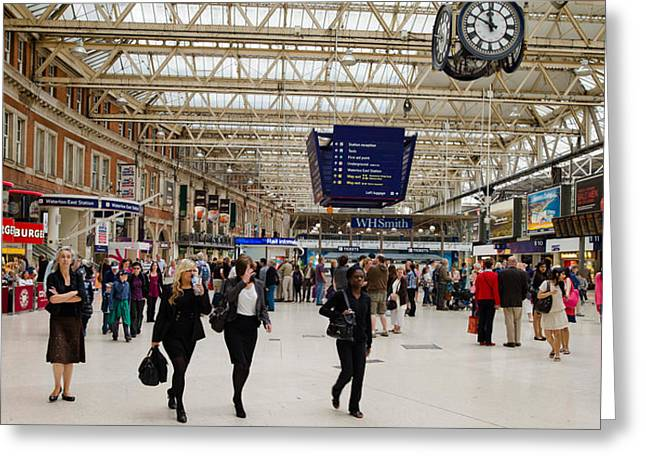 Concourse Greeting Cards - Commuters At A Railroad Station Greeting Card by Panoramic Images