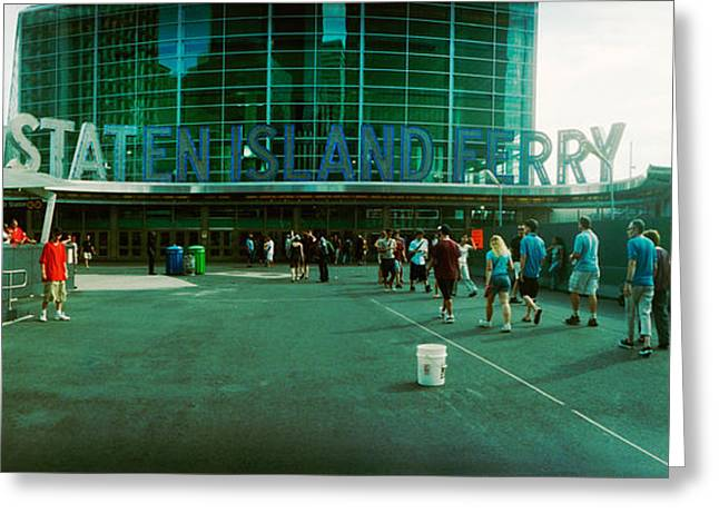 Staten Island Greeting Cards - Commuters In Front Of A Ferry Terminal Greeting Card by Panoramic Images