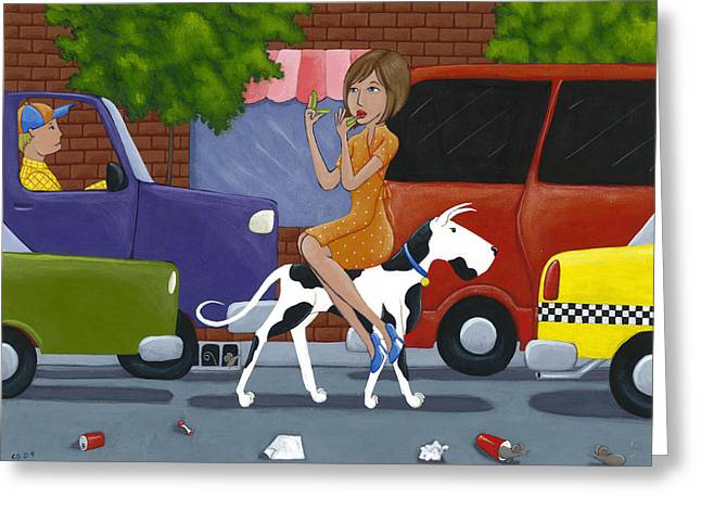 Humor Greeting Cards - Commuting Greeting Card by Christy Beckwith