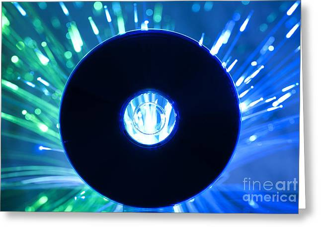 Casette Greeting Cards - Compact disc and Multicolored blue lights  Greeting Card by Deyan Georgiev