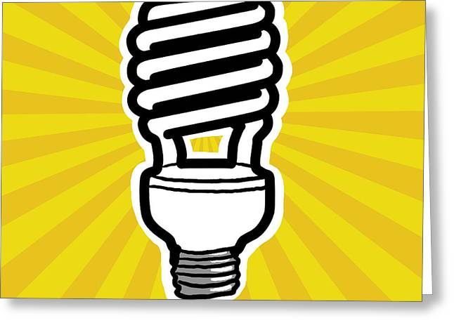 Vector Image Photographs Greeting Cards - Compact Fluorescent Lightbulb Greeting Card by Yuriko Zakimi
