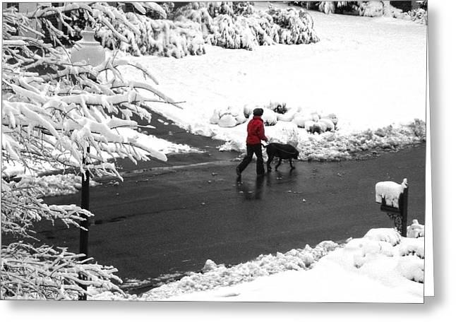 Sandi Oreilly Greeting Cards - Companions Walking On Christmas Morning Greeting Card by Sandi OReilly