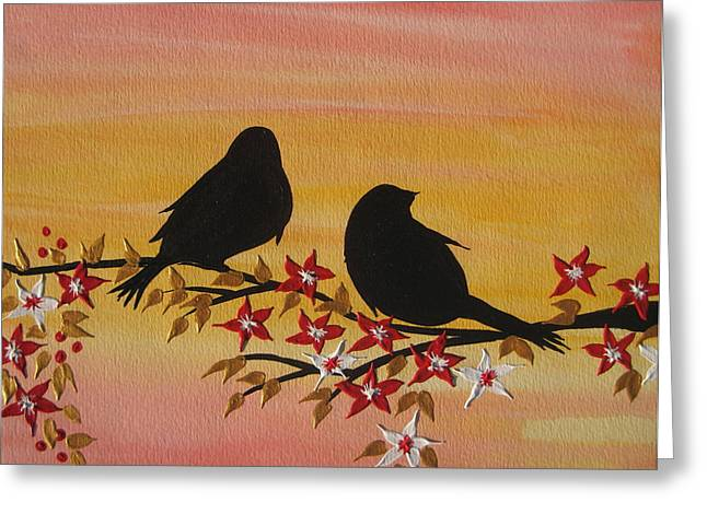 Catherine Mixed Media Greeting Cards - Companionship Greeting Card by Cathy Jacobs