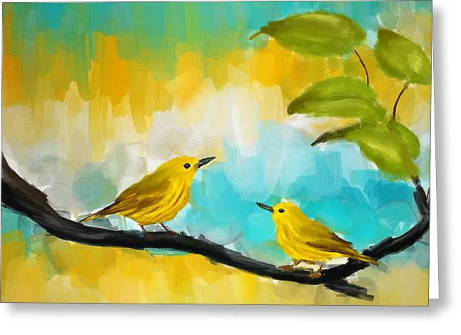 Tropical Bird Art Greeting Cards - Companionship Greeting Card by Lourry Legarde