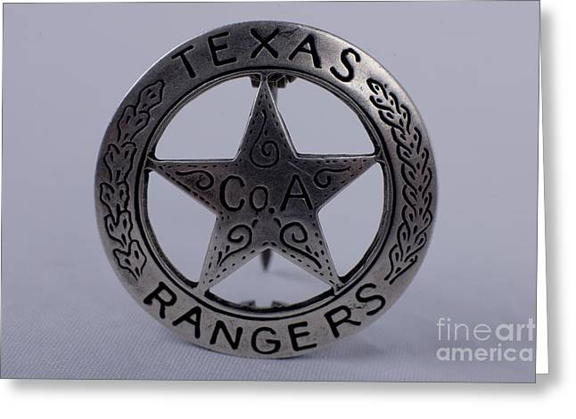 Alan Look Greeting Cards - Company A Texas Ranger Badge Greeting Card by Alan Look