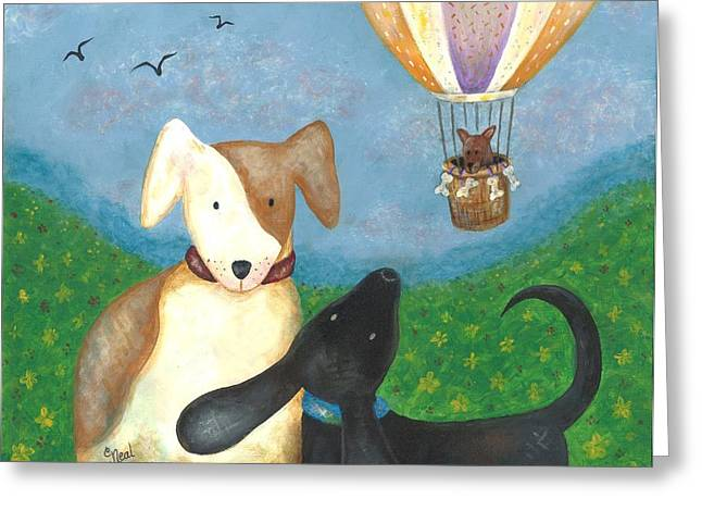 Puppies Greeting Cards - Company Coming Greeting Card by Carol Neal