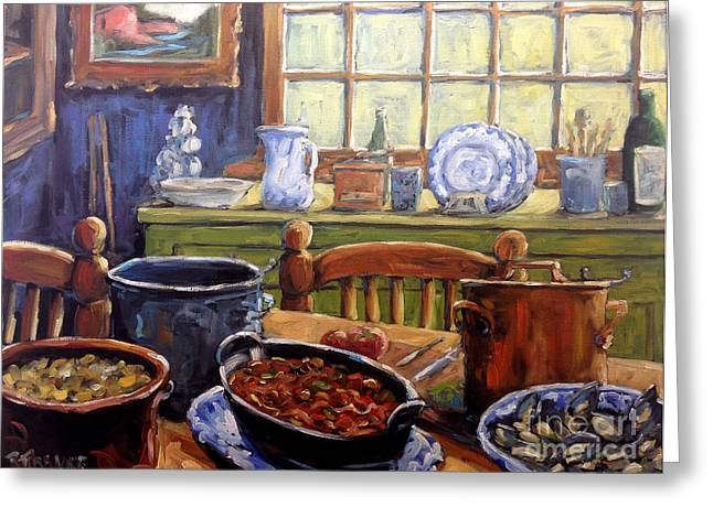 Country Kitchen Greeting Cards - Company for Dinner by Prankearts Greeting Card by Richard T Pranke