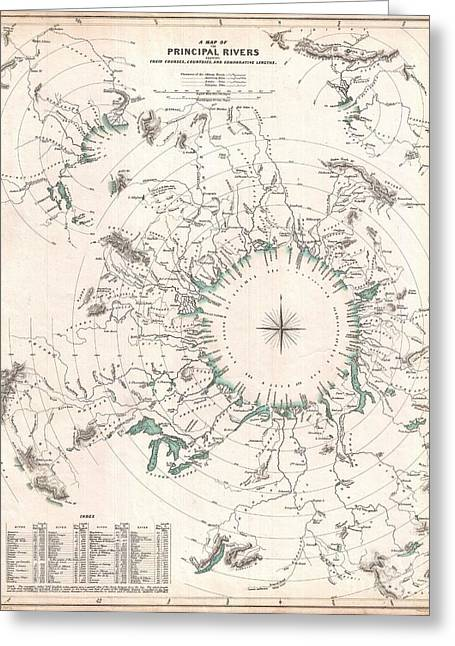 Volume 47 Greeting Cards - Comparative Map or Chart of the Worlds Great Rivers Greeting Card by Paul Fearn