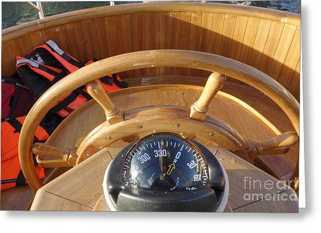 Wooden Ship Greeting Cards - Compass And Helm Greeting Card by Ladi  Kirn