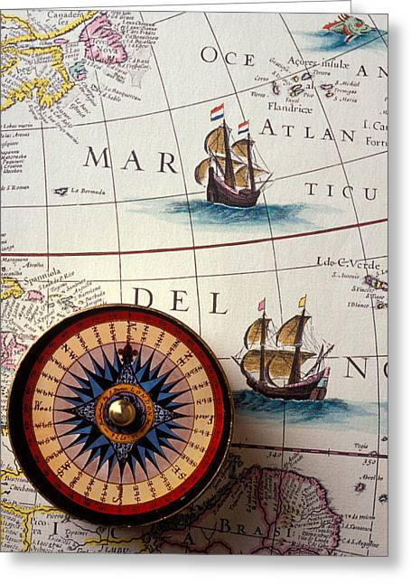 Circular Circle Circles Greeting Cards - Compass and old map with ships Greeting Card by Garry Gay