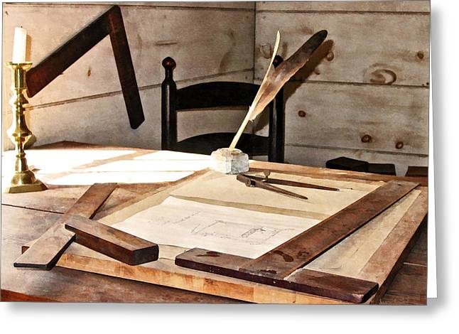 Desk Greeting Cards - Compass and T-Square Greeting Card by Susan Savad
