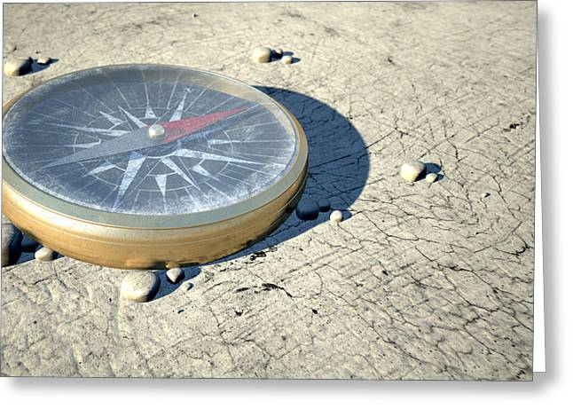 Middle Of Nowhere Greeting Cards - Compass In The Desert Greeting Card by Allan Swart