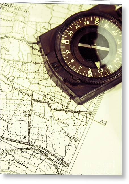 German Map Greeting Cards - Compass Greeting Card by Margie Hurwich