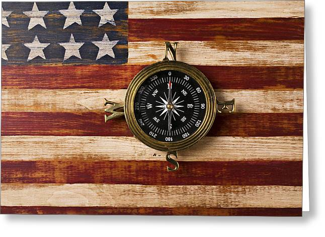 Longitude Greeting Cards - Compass on wooden folk art flag Greeting Card by Garry Gay