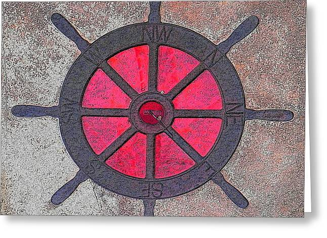 Steering Mixed Media Greeting Cards - Compass wheel Greeting Card by Anthony Dalton
