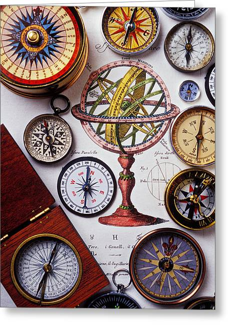 Longitude Greeting Cards - Compasses and globe illustration Greeting Card by Garry Gay
