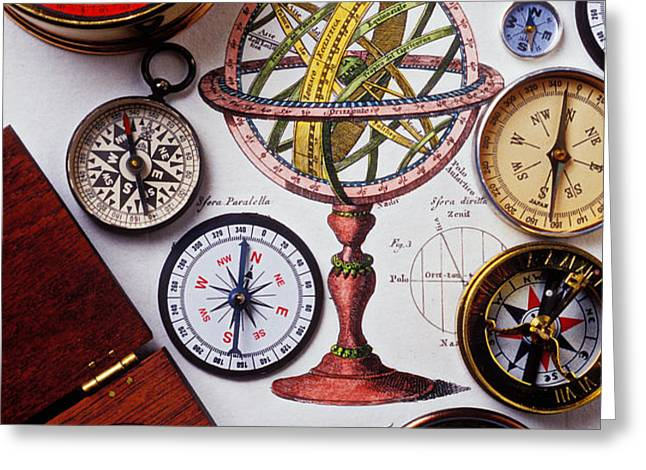 Compasses and globe illustration Greeting Card by Garry Gay