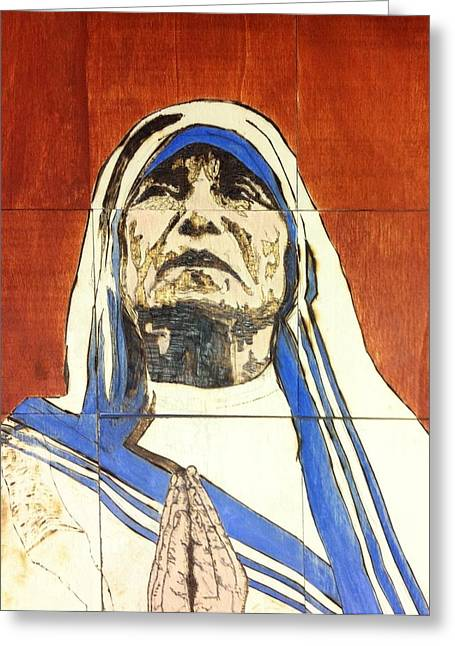 Mother Pyrography Greeting Cards - Compassion Greeting Card by Stephanie Cavanaugh