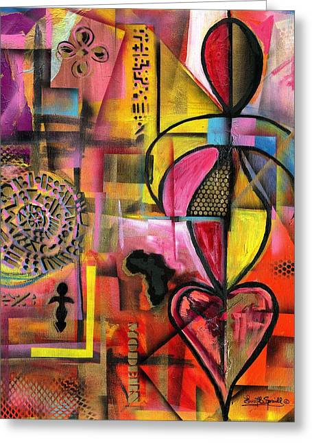 Pablo Mixed Media Greeting Cards - Compassionate Woman x2 - 2014 Greeting Card by Everett Spruill