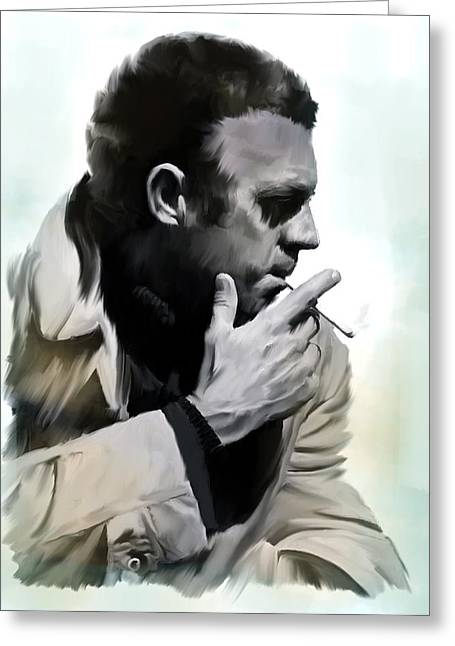 Main Street Greeting Cards - Coolness  Steve McQueen Greeting Card by Iconic Images Art Gallery David Pucciarelli