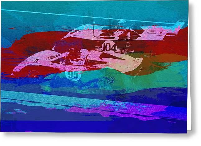 Historic Racing Greeting Cards - Competition Greeting Card by Naxart Studio