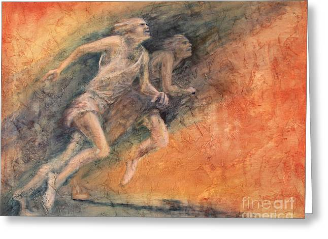 Footrace Greeting Cards - Competition Greeting Card by Larry  Daeumler