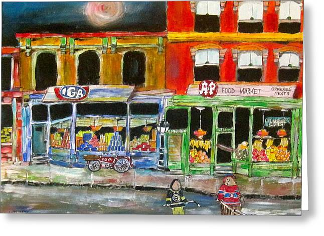 Litvack Greeting Cards - Competition on Main Street Greeting Card by Michael Litvack