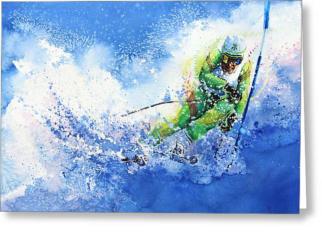 Slalom Skiing Greeting Cards - Competitive Edge Greeting Card by Hanne Lore Koehler