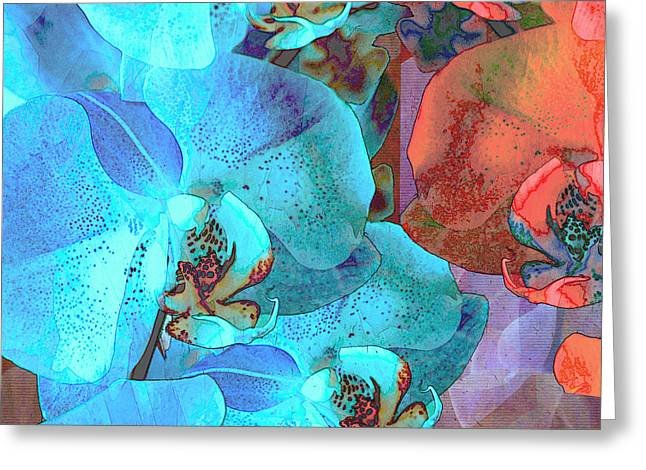 Lush Mixed Media Greeting Cards - Complementary Blooms Greeting Card by Lynda Lehmann