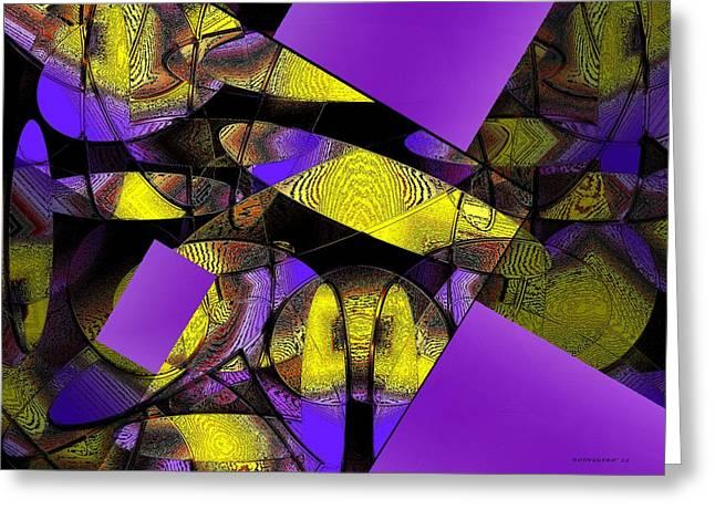 Transparency Geometric Greeting Cards - Complementary Colors in Abstract Art Greeting Card by Mario  Perez