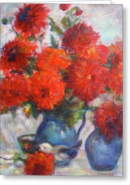 Complementary - Original Impressionist Painting - Still-life - Vibrant - Contemporary Greeting Card by Quin Sweetman