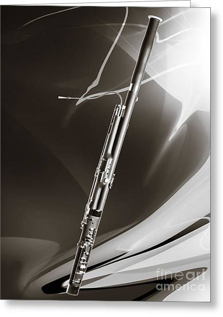 Bassoon Music Instrument Fine Art Prints Canvas Prints Greeting Cards In Sepia 3410.01 Greeting Card by M K  Miller