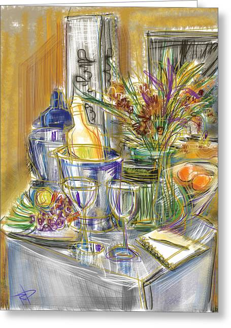 Glass Table Reflection Greeting Cards - Compliments of Blondie N. Greeting Card by Russell Pierce