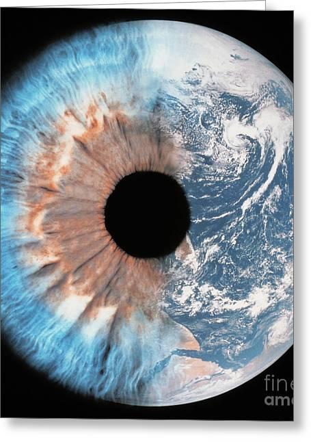 Planet Earth Greeting Cards - Composite of earth and eye Greeting Card by Spl