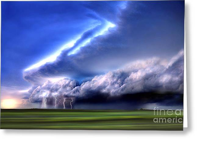 Stormy Weather Greeting Cards - Composite Of Lightning On The Horizon Greeting Card by Mike Agliolo