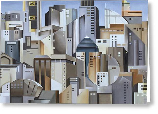 Cubism Greeting Cards - Composition Looking East Greeting Card by Catherine Abel