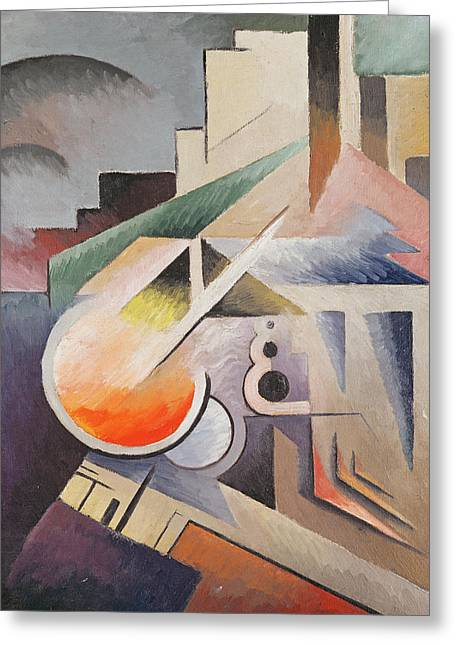 Modern Abstract Paintings Greeting Cards - Composition Greeting Card by Viking Eggeling