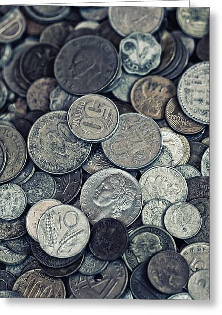 Valuable Photo Greeting Cards - Composition with old rusty coins Greeting Card by Jaroslaw Blaminsky