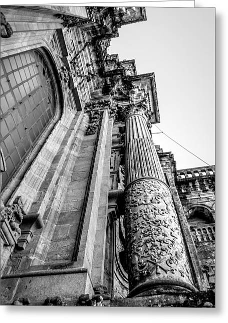 Pilgram Greeting Cards - Compostela Cathedral Columns Greeting Card by Justin Murazzo