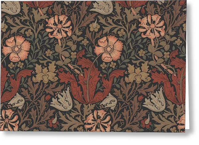 Wallpaper Tapestries Textiles Greeting Cards - Compton Design Greeting Card by William Morris
