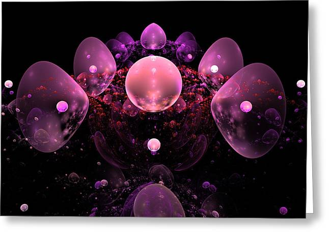 Deep Pink Greeting Cards - Computer Generated Pink Abstract Bubbles Fractal Flame Art Greeting Card by Keith Webber Jr